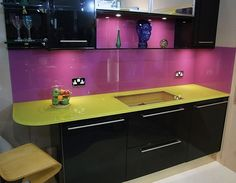 Quirky coloured glass worksurfaces