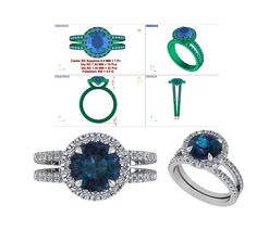 CAD for a stunning palladium, sapphire and diamond ring.