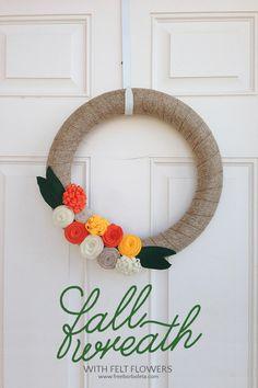 Wreath with felt flowers and burlap ribbon by freeborboleta