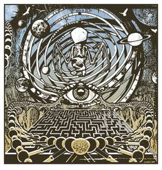 Gregg Gordon / GIGART created this Eye Of The Labyrinth Print and it is a trip. Look into the eye. You are getting sleepy. Now sit back and let this take you somewhere unknown. Enjoy the mystery.  Size: 18 x 19 inch / 3 Color Silk Screen