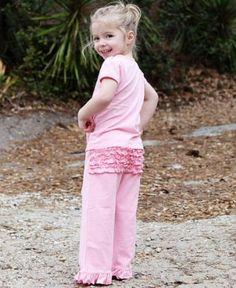 RuffleButts Baby Girls Pink Cotton Knitted Ruffled Crawlers