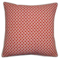 This fabulous pillow features a geometric pik pak design in bright red against a white background for a pop of color that will lend a modern, trendy touch to your decor. Crafted of 100-percent cotton, this unique pillow features a feather and down fill.