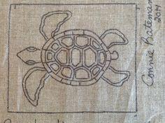 Sea Turtle Rug Hooking Pattern 11.5 x 10 by LCsWoolnSilk on Etsy, $18.00