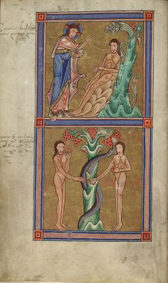 Glasgow University Library. The Hunterian Psalter. England: c. 1170. Sp Coll MS Hunter U.3.2 (229). folio 7v: miniature depicting the creation of Adam (top compartment)   and the temptation of Adam and Eve in Eden (lower compartment)