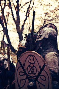 Viking warriors ready to form a shield wall