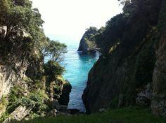 Hermosas vistas desde la entrada de la Cueva del Pindal en Pimiango, a 3 km del camping