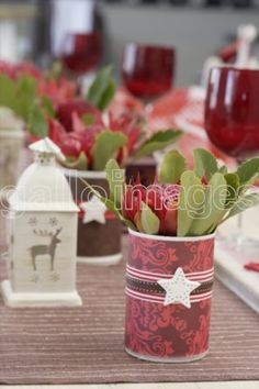 Vases made from cans with Cape Fynbos. Christmas Vases, Christmas Decorations, Xmas, Table Decorations, African Christmas, Summertime, Cape, Tables, Parties