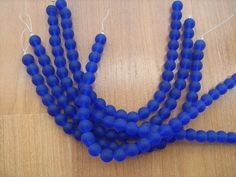 Blue sea glass beads 8mm round 8 inch strand by beaderbeads