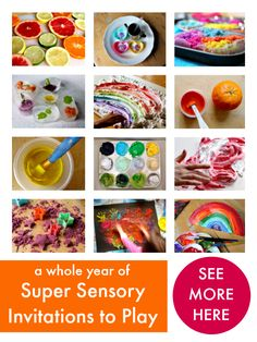 52 sensory play ideas that encourage children to learn through playing, exploring, thinking, and having fun.