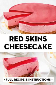 If you like Red Skins lollies you're going to love this no-bake cheesecake. It has a granita biscuit base, creamy Red Skins filling and raspberry jelly topping. Jelly Cheesecake, Cheesecake Recipes, Tiramisu Cheesecake, Classic Cheesecake, Homemade Cheesecake, Cheesecake Cupcakes, Chocolate Cheesecake, Mini Cupcakes, Jello Recipes