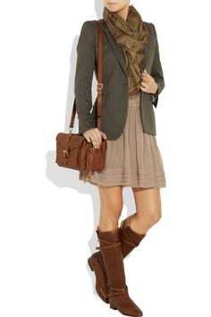 boots, cute dress, blazer, scarf? Eeee! My life, my love.