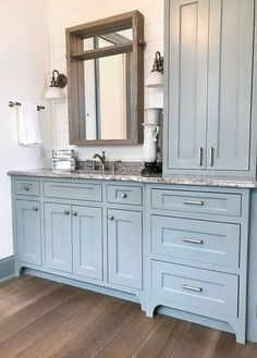 Artisan tour - luxury lake cottage bathroom with shiplap and blue green vanity