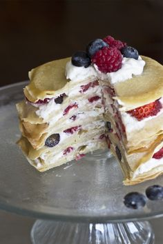 Healthy Crepe Cake by naturalsweetrecipes: Filled with yogurt and berries. #Breakfast #Crepe #Cake #Healthy