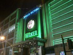 Apollo Victoria Theatre looks amazing and green when the sun goes down!
