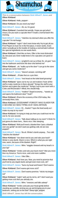 A conversation between Oliver Kirkland and Sick! Alfred F. Jones