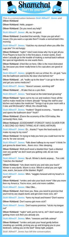 A conversation between Oliver Kirkland and Sick! Alfred F. Jones