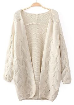 Beige Plain Long Sleeve Cardigan
