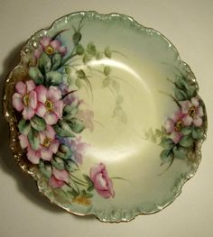 Antique Pouyat Limoges Hand Painted Porcelain Bowl Floral 1890's