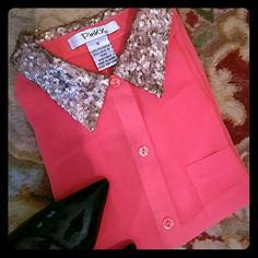 🌸HOST PICK🌸 Ruby red top Adorable button down. Embellished collar, and sweet little pocket. Great for the season! Wear with a pencil skirt, or jeans. Pinky Tops