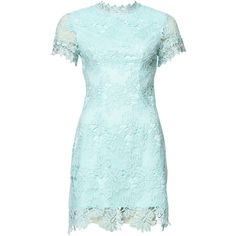 High Neck Lace Dress (£40) ❤ liked on Polyvore featuring dresses, blue cocktail dresses, high neckline dress, crochet dress, lace mini dress and high neck dress