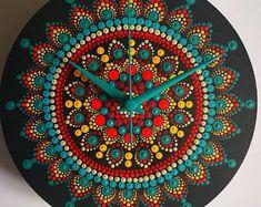 Yellow/Purple Mandala Dotted Wall Clock | Etsy