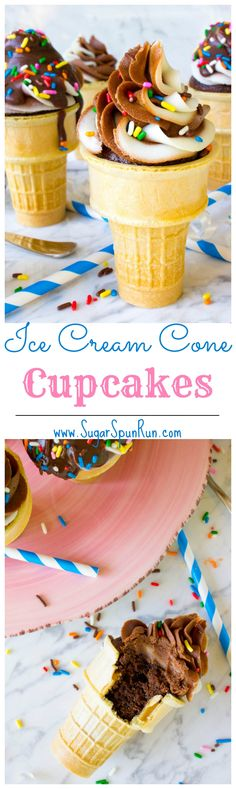 Ice Cream Cone Cupcakes - These are so much fun for the kids! If you're looking for a neat birthday party dessert, these are so cute!