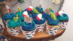 Cupcakes from a Gone Fishing Birthday Party via Kara's Party Ideas | KarasPartyIdeas.com (10)