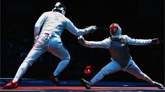 Mohamed Samandi of Tunisia competes against Husayn Rosowsky of Great Britain in the Fencing#