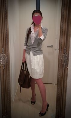 White dress + gray sweater + black heels + brown bag - http://ameblo.jp/nyprtkifml