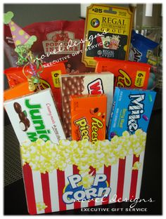 Custom Movie Theme Gift Basket w/Movie Theater Gift Card & Recipients Favorite Treats. Contact us at www.noveldesignsllc.com to order a custom designed gift basket delivered in Las Vegas & Henderson, NV.