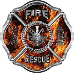 Fire Captain Maltese Cross With Flames Fire Fighter Decal