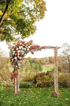 rustic fall wedding arch…