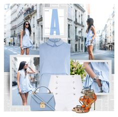 """Blue ♥"" by bklana ❤ liked on Polyvore featuring River Island, Pierre Balmain, Jimmy Choo and Mark Cross"