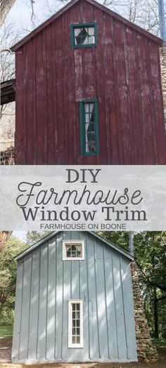 DIY Farmhouse Window Trim - Farmhouse on Boone Attic Master Suite, Cove Molding, Red Cottage, Farmhouse Windows, Door Trims, Larger, Shed, New Homes, Outdoor Structures