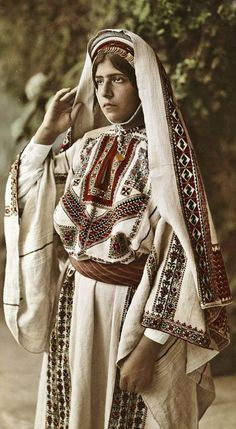 Palestine Fashion Week: Pictures of Palestinians in traditional clothing from National Geographic Creative A Bride wears traditional clothing with embroidered cloth and veil An Elderly woman. National Geographic, Palestine History, Palestine Flag, Egyptian Women, Tibet, Palestinian Embroidery, Figure Poses, Folk Fashion, Bridal Outfits