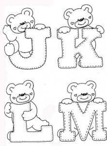 desenhos-alfabeto-ursinhos-enfeite-sala-de-aula-infantil-(3) - alphabet and teddy coloring