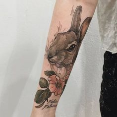 Neo-Traditional Rabbit Tattoo by Sophia Baughan
