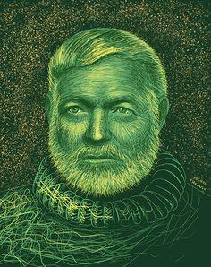 Island I on Behance Traditional Art, Literature, Ernest Hemingway, Illustrations, Statue, Drawing Art, Portrait, Drawings, Warriors