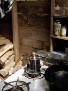 Preparing coffee at the cabin. The smell of the woods combined with coffee brewing, oh yes!