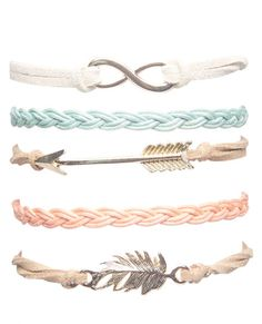<p>This bracelet set is oh-so-boho featuring braided lanyard bracelets and faux leather bracelets with boho-inspired charms including an arrow, feather, and infinity symbol. Stack them on your wrist for some majorly trendy arm candy or share them with your bestie!</p>  <ul> 	<li>Man Made Materials / Metal</li> 	<li>Imported</li> </ul>