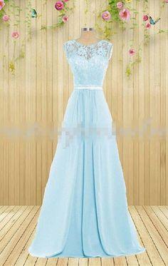 Baby Blue Prom Dress,Lace Sleeveless Evening Dress,Chiffon Floor Length Party Dress,Sweetheart prom dress