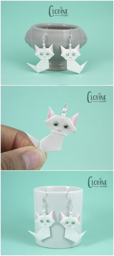 White Origami Cat Earrings, White cat, Origami cat, Cat earrings, Cat jewelry, Cat accessories, Paper crafted jewelry, Origami earrings, Origami jewelry, Handmade jewelry, Handmade earrings, Paper folding, Kitty, Kawaii earrings, Kawaii cat, Kawaii jewelry, Cute kitties
