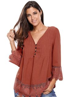 O-NEWE S-5XL Sexy Deep V-Necklace Hollow Out Three Quarter Sleeve Tops