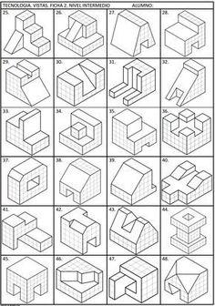 Blog de aula con contenidos de la materia de tecnología en la ESO, desde la comunidad autónoma española de Asturias Isometric Sketch, Isometric Map, Geometric Shapes Drawing, Geometric Graphic, Isometric Drawing Exercises, Orthographic Drawing, Perspective Drawing Lessons, Learn To Sketch, Certificate Design Template