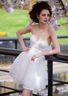 Etsy Eye Candy: Short Wedding Dress - lovely, but why is she posed like she's standing around like a lumberjack?