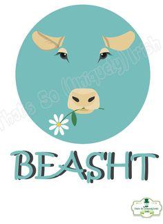 Irish slang 'Beasht' Irish Poster Colloquialism by ThatsSoIrish