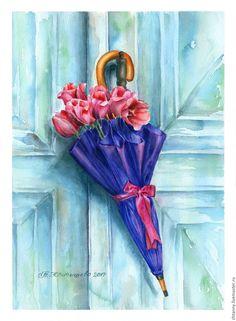 """Акварель """"Без дождя"""". Автор: Желтышева Татьяна - акварельная бумага, цветочный зонтик, декор, дверь, тюльпаны, зонт, umbrella, door, tulips"""