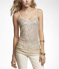 Express Sequin Vneck Cami Ivory, Small