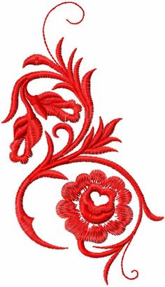 Red swirl free embroidery design - Decoration free embroidery designs - Machine embroidery community
