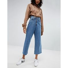 STYLENANDA Skater Jeans With Zip Fly (€64) ❤ liked on Polyvore featuring jeans, blue, blue jersey, cuffed jeans, skater jeans, zipper jeans and high rise wide leg jeans